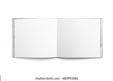 Blank template of an open book isolated on white background
