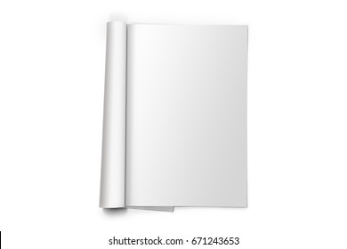 Blank template of open magazine isolated on white background