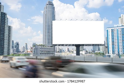 Blank template for outdoor advertising or blank billboard on the highway with clipping path on screen - can be used for trade shows, and advertising or promotional poster.
