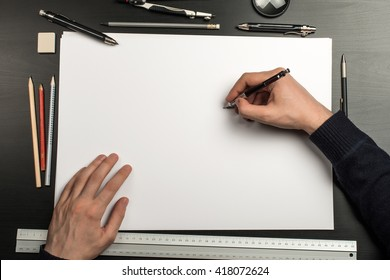 Blank template for sketch, hand drawn projects, mockups - Shutterstock ID 418072624