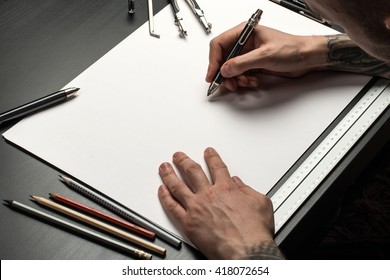 Blank template for sketch, hand drawn projects, mockups