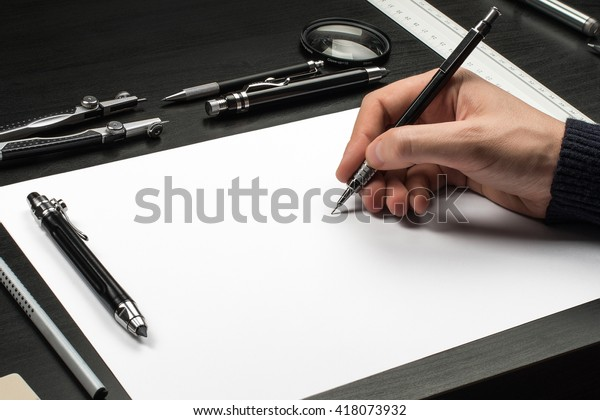 Blank Template Sketch Hand Drawn Projects Stock Photo (Edit Now
