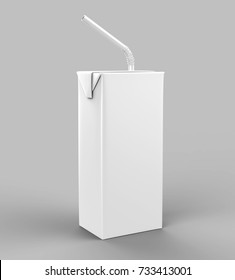 Blank Tetra Packet Carton Juice & milk pack with straw White Realistic Rendering for mock up template design. 3D Illustration