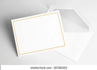Blank  thank you or greeting card and envelope