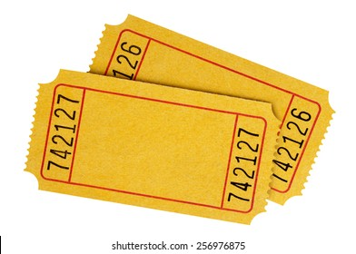 Blank ticket : two yellow movie or theater tickets isolated.