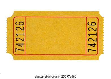 Blank ticket, yellow, isolated on white.