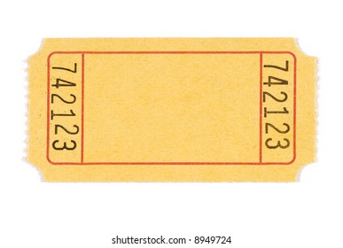 blank ticket yellow movie or raffle ticket isolated on white background space for copy