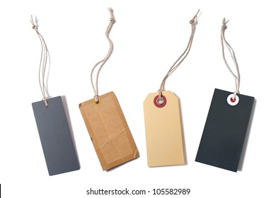 Blank tied price tags or sale tags isolated on white background