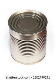 Blank tincan gilded metal Tin Can, canned Food. Isolated on white background. Real product packing