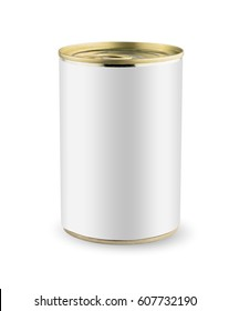 Blank tincan gold metal Tin Can with key, canned Food. Isolated on white background. Ready for your design. Real product packing. Mockup.