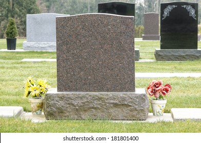 Blank Tombstone with Flowers