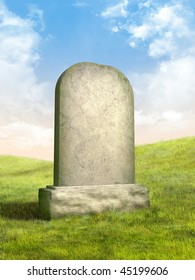 Blank tombstone in a green grass meadow. Digital illustration.