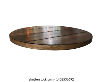 Blank top round wooden bar or counter coffee table isolated on white. Using for Mock up template for craft display of your design or banner for advertise of product.