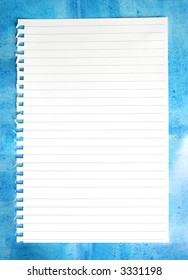 Blank torn notepaper on a mottled blue background.