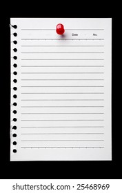 Blank torn page held by a pushpin waiting for your message on black. Add your own text or design.