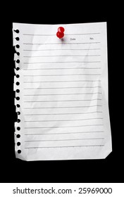 Blank torn page held by a pushpin waiting for your message. Add your own text or design.