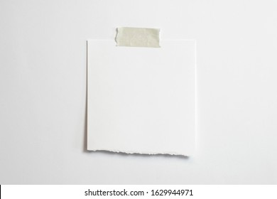 Blank torn polaroid photo frame with soft shadows and scotch tape isolated on white paper background as template for graphic designers presentations, portfolios etc.