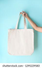 blank tote bag mock up design on blue background