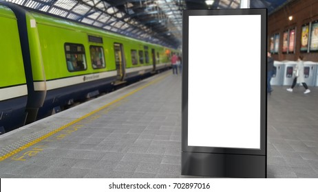 Blank totem sign on a railway platform