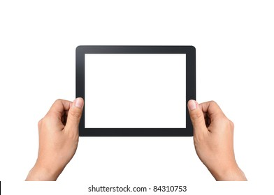 Blank touchpad with two hand, isolated on white