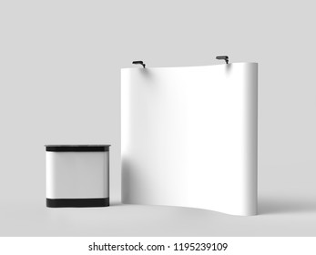 Blank trade show booth with counter stand mockup isolated on white, grey background