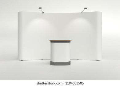 Blank trade show booth display mockup isolated on white background