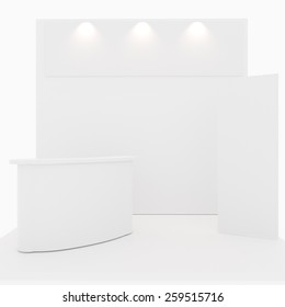 Blank trade show booth on white background