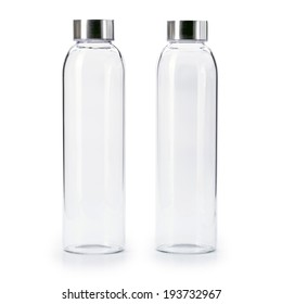 blank Transparent of aluminum lid glass bottle isolated on  white background