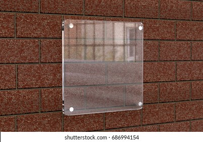 Blank transparent glass Interior Office Corporate Signage plate mock up, Office name plate mock up on the brick wall. Signage panel, store door template. Clear printing board for branding.