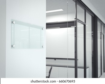 Blank transparent glass plate in office interior. 3d rendering
