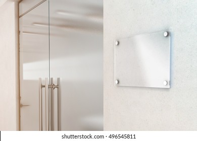 office door design. Blank Transparent Glass Sign Plate Design Mockup, 3d Rendering. Nameplate Mock Up On The Office Door