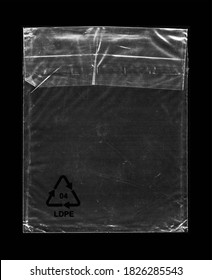 Blank transparent wrinkle plastic packaging overlay with grungy texture