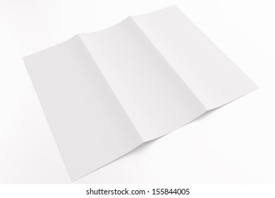 Blank tri fold brochure isolated on white to replace your design or message