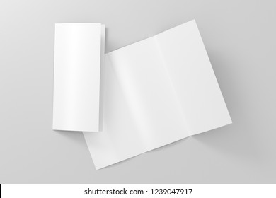 Blank trifold brochure A4 booklet on white background with clipping path. Folded and unfolded. 3D illustration