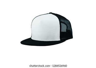 Blank trucker hat cap flat visor with black and white on white background isolated, ready for your mock up design or presentation your design project
