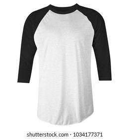 blank t-shirt black white raglan 3/4 sleeves front view for mockup template. isolated