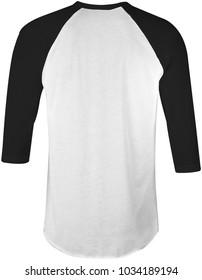 blank t-shirt black white raglan 3/4 sleeves back view for mockup template