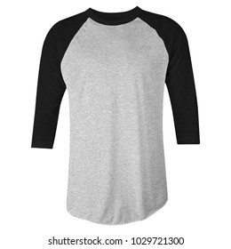 blank t-shirt raglan 3/4 sleeves in heather black and grey color front view for mockup template