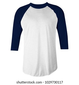 blank t-shirt raglan 3/4 sleeves in blue navy and white color front view for mockup template