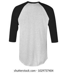 blank t-shirt raglan 3/4 sleeves in heather black and grey color back view for mockup template