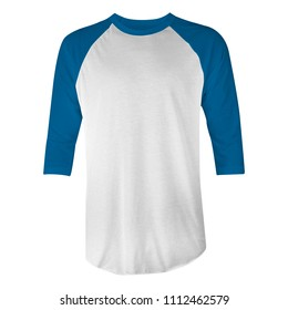 blank t-shirt raglan 3/4 sleeves with blue and white color in front view for mockup template. isolated white background