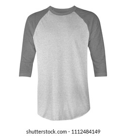 blank t-shirt raglan 3/4 sleeves with grey and heather grey color in front view for mockup template. isolated white background