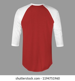 Blank t-shirt raglan 3/4 sleeves with red maroon and white color in front view for mockup template isolated on white back ground