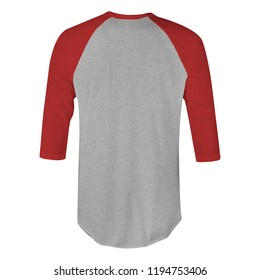 Blank t-shirt raglan 3/4 sleeves with red maroon and heather grey color in back view for mockup template isolated on white background