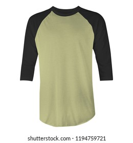 Blank t-shirt raglan 3/4 sleeves with green army and black color in front view for mockup template isolated on white background