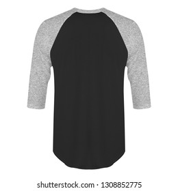 Blank t-shirt raglan 3/4 sleeves back view with heather grey black color on white background isolated, ready for mockup template
