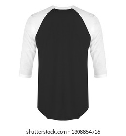 Blank t-shirt raglan 3/4 sleeves back view with white black color on white background isolated, ready for mockup template