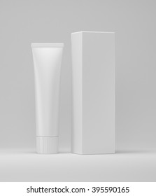 Blank tube with box 3d mock up design for toothpaste