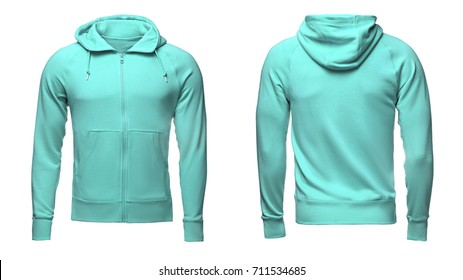 Blank turquoise male hoodie sweatshirt  with clipping path, mens pullover for your design mockup and template for print, isolated on white background.