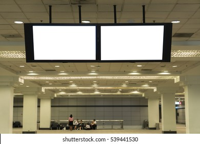 Blank TV screen located in exhibition hall useful for your advertising.